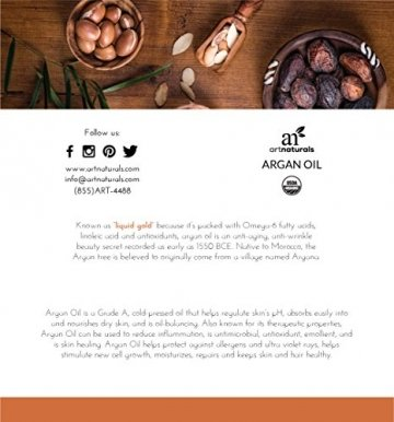 ArtNaturals Kaltgepresstes Reines Arganöl aus Marokko - Unberührt - 100% Argania Spinosa - Für Strapaziertes und Trockenes Haar sowie zur Hautpflege - 120 ml - 2