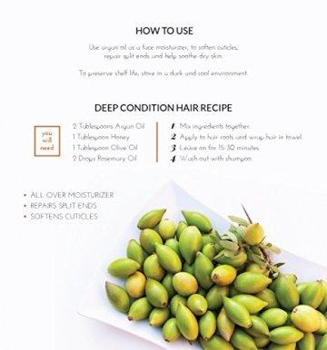 ArtNaturals Kaltgepresstes Reines Arganöl aus Marokko - Unberührt - 100% Argania Spinosa - Für Strapaziertes und Trockenes Haar sowie zur Hautpflege - 120 ml - 3