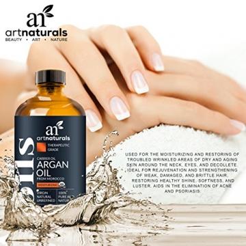 ArtNaturals Kaltgepresstes Reines Arganöl aus Marokko - Unberührt - 100% Argania Spinosa - Für Strapaziertes und Trockenes Haar sowie zur Hautpflege - 120 ml - 4