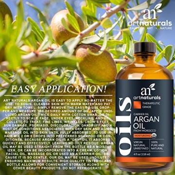 ArtNaturals Kaltgepresstes Reines Arganöl aus Marokko - Unberührt - 100% Argania Spinosa - Für Strapaziertes und Trockenes Haar sowie zur Hautpflege - 120 ml - 6