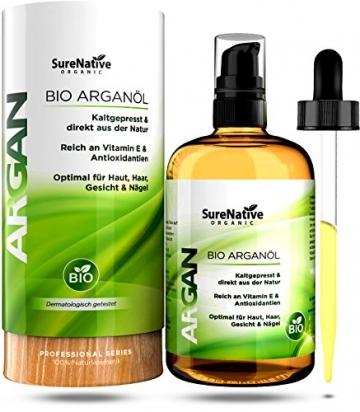 BIO Arganöl 100ml für Haare, Haut & Gesicht, Argan Oil, Argan Öl 100% rein & kaltgepresst original aus Marokko, Anti-Falten Anti-Aging Serum, nur frische Argannüsse aus zertifiziert biologischem Anbau - 1