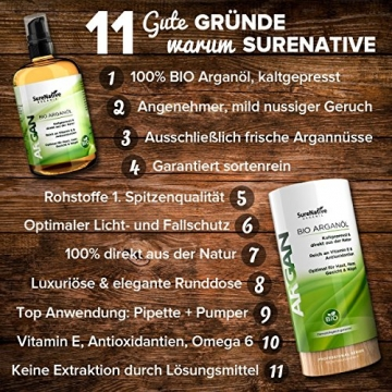 BIO Arganöl 100ml für Haare, Haut & Gesicht, Argan Oil, Argan Öl 100% rein & kaltgepresst original aus Marokko, Anti-Falten Anti-Aging Serum, nur frische Argannüsse aus zertifiziert biologischem Anbau - 5