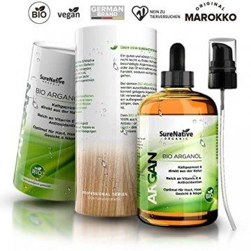 BIO Arganöl 100ml für Haare, Haut & Gesicht, Argan Oil, Argan Öl 100% rein & kaltgepresst original aus Marokko, Anti-Falten Anti-Aging Serum, nur frische Argannüsse aus zertifiziert biologischem Anbau - 6