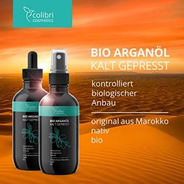 Bio Arganöl 120ml - 100% rein, nativ und kalt-gepresst für weiche, junge Haut, glatte Haare und gesunde Nägel - unverdünnt und ohne Silikon - colibri cosmetics / Naturkosmetik made in Germany - 4