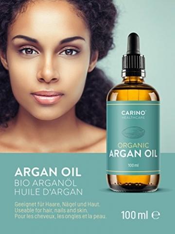 Carino HealthCare BIO Arganöl 100ml aus Marokko 100% rein kaltgepresst Anti-Falten Anti-Aging-Pflege für Haut Haare und Nägel Serum Haut Haare - 4
