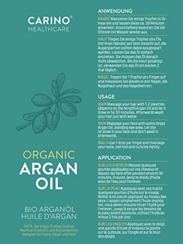 Carino HealthCare BIO Arganöl 100ml aus Marokko 100% rein kaltgepresst Anti-Falten Anti-Aging-Pflege für Haut Haare und Nägel Serum Haut Haare - 7