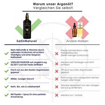 Der SIEGER auf Vergleich.org 02/2017 / Bio Arganöl Fair Trade 100ml von SatinNaturel - höchste Qualität Kalt-gepresst in Lichtschutz Glas-Flasche - Serum für Anti-Aging, Anti-Falten / Feuchtigkeitspflege für junge Haut & Gesicht, Haare & Nägel - 3