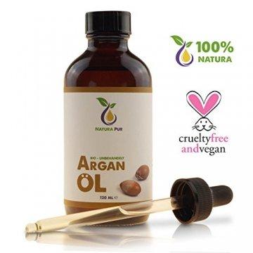Natura Pur Bio Arganöl 120ml, ohne Silikon - 100% nativ, kaltgepresst, vegan - Anti-Aging Serum für kraftvolle Haare, zarte Haut, junges Gesicht, Anti-Falten und starke Nägel - Argan-Öl aus Marokko in Lichtschutzflasche mit Pipette - 2