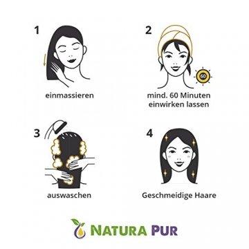 Natura Pur Bio Arganöl 120ml, ohne Silikon - 100% nativ, kaltgepresst, vegan - Anti-Aging Serum für kraftvolle Haare, zarte Haut, junges Gesicht, Anti-Falten und starke Nägel - Argan-Öl aus Marokko in Lichtschutzflasche mit Pipette - 3