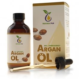 Natura Pur Bio Arganöl 120ml, ohne Silikon - 100% nativ, kaltgepresst, vegan - Anti-Aging Serum für kraftvolle Haare, zarte Haut, junges Gesicht, Anti-Falten und starke Nägel - Argan-Öl aus Marokko in Lichtschutzflasche mit Pipette - 1