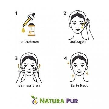 Natura Pur Bio Arganöl 120ml, ohne Silikon - 100% nativ, kaltgepresst, vegan - Anti-Aging Serum für kraftvolle Haare, zarte Haut, junges Gesicht, Anti-Falten und starke Nägel - Argan-Öl aus Marokko in Lichtschutzflasche mit Pipette - 4