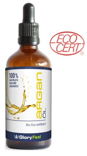 Organisches Arganöl Bio - / Eco-zertifiziert - Original Argan-Öl aus Marokko Kaltgepresst - Anti-Aging und Falten Pflege für Haut und Haare - 100ml Feuchtigkeitspflege von Gloryfeel - 2