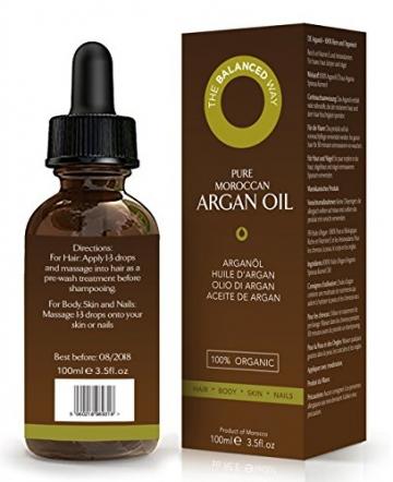 Reines Arganöl 100ml für Haare, Gesicht, Haut und Nägel - Zertifiziert Biologisch, 100% Natürlich, Kalt gepresst und Ungeröstet - Intensiv Feuchtigkeitsspendend and Reich an Antioxidantien - 4