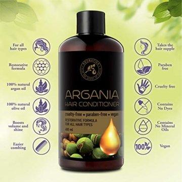 Arganöl Conditioner 480ml - mit Naturreinem Arganöl & Olivenöl - Haarspülung für Alle Haartypen - Frei von Farbstoffen & Mineralölen - Argan Haarpflege - 3