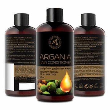 Arganöl Conditioner 480ml - mit Naturreinem Arganöl & Olivenöl - Haarspülung für Alle Haartypen - Frei von Farbstoffen & Mineralölen - Argan Haarpflege - 5