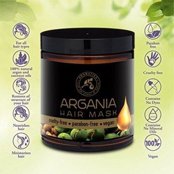 Arganöl Haarkur 250ml mit Naturreinem Arganöl und Kokosöl - Haarmaske für Alle Haartypen - Frei von Farbstoffen und Mineralölen - Argan Haarpflege - 3