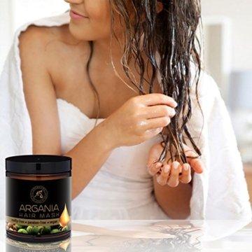 Arganöl Haarkur 250ml mit Naturreinem Arganöl und Kokosöl - Haarmaske für Alle Haartypen - Frei von Farbstoffen und Mineralölen - Argan Haarpflege - 4