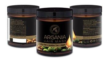 Arganöl Haarkur 250ml mit Naturreinem Arganöl und Kokosöl - Haarmaske für Alle Haartypen - Frei von Farbstoffen und Mineralölen - Argan Haarpflege - 5