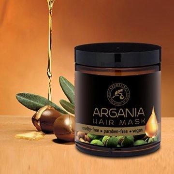 Arganöl Haarkur 250ml mit Naturreinem Arganöl und Kokosöl - Haarmaske für Alle Haartypen - Frei von Farbstoffen und Mineralölen - Argan Haarpflege - 6