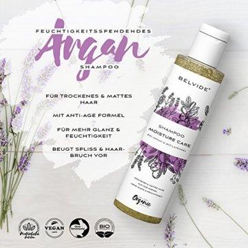 BELVIDE® Feuchtigkeits Shampoo mit Bio Arganöl und Bio Lavendel · ohne Silikon, Sulfate und Parabene · natürlicher Glanz und Geschmeidigkeit · tierversuchsfrei und vegan · 200 ml - 2