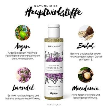 BELVIDE® Feuchtigkeits Shampoo mit Bio Arganöl und Bio Lavendel · ohne Silikon, Sulfate und Parabene · natürlicher Glanz und Geschmeidigkeit · tierversuchsfrei und vegan · 200 ml - 4