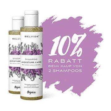 BELVIDE® Feuchtigkeits Shampoo mit Bio Arganöl und Bio Lavendel · ohne Silikon, Sulfate und Parabene · natürlicher Glanz und Geschmeidigkeit · tierversuchsfrei und vegan · 200 ml - 7
