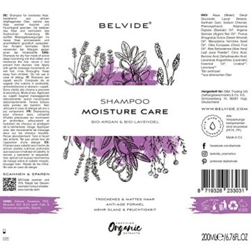 BELVIDE® Feuchtigkeits Shampoo mit Bio Arganöl und Bio Lavendel · ohne Silikon, Sulfate und Parabene · natürlicher Glanz und Geschmeidigkeit · tierversuchsfrei und vegan · 200 ml - 8