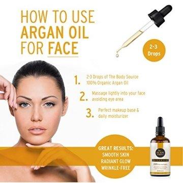 Reines Arganöl 100ml. 100% kalt gepresst und zertifiziert biologisch für Gesicht, Haare, Haut, Nägel - Natürlich & intensiv feuchtigkeitsspendend nährend für weiche, junge Haut, glatte Haare & gesunde Nägel - 4