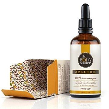 Reines Arganöl 100ml. 100% kalt gepresst und zertifiziert biologisch für Gesicht, Haare, Haut, Nägel - Natürlich & intensiv feuchtigkeitsspendend nährend für weiche, junge Haut, glatte Haare & gesunde Nägel - 7