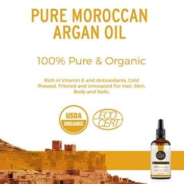 Reines Arganöl 100ml. 100% kalt gepresst und zertifiziert biologisch für Gesicht, Haare, Haut, Nägel - Natürlich & intensiv feuchtigkeitsspendend nährend für weiche, junge Haut, glatte Haare & gesunde Nägel - 8