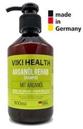 VIKI HEALTH Arganöl Shampoo - ohne Silikone, Salze und Parabene - bei trockenen, beschädigten Haar - für Volumen - mit wertvoller Hydroxycellulose, Deutsches Markenprodukt, silikonfrei - 1